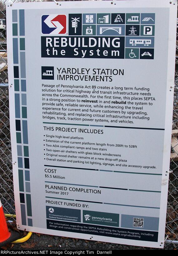 Yardley station info.